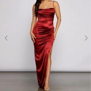 Red silk prom dress